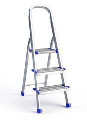 Metallic step ladder isolated on white