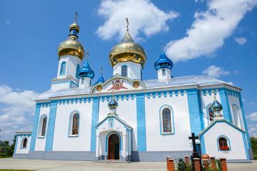 White orthodox church against the blue sky