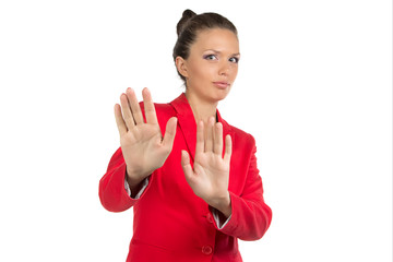 Portrait of refusing businesswoman