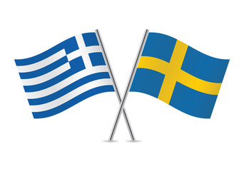 Greek and Swedish flags. Vector illustration.