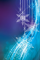 Magic Christmas background in blue colours.