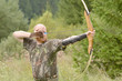 Young archer training with the bow