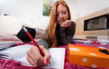 Girl doing homework for school