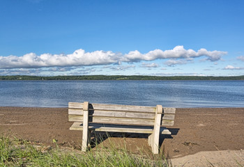 Sandy Point Beach Maine bench facing river