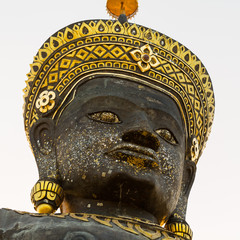 head of big crowned buddha image - Isolated on white