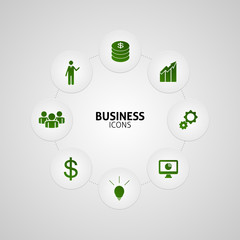 Business green icons in button vector
