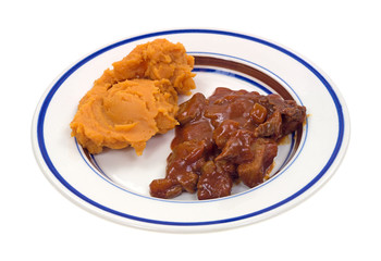 Braised beef and sweet potato TV dinner