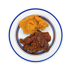 Sweet potatoes and braised beef TV dinner