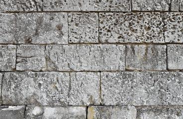 Close up of old stone masonry