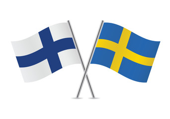 Finnish and Swedish flags. Vector illustration.