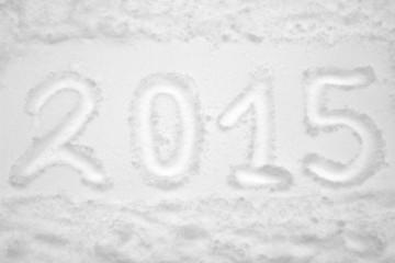 Inscription 2015 on the snow