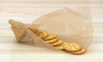 Snack crackers in packaging on counter top