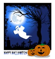 illustrazione per halloween con zucche in primo piano