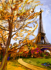 Street in paris. Eiffel tower -  illustration