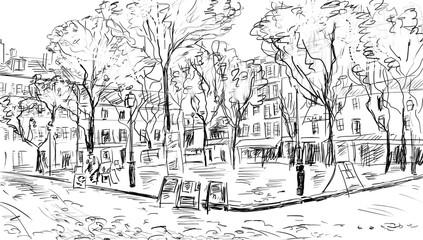 Street in paris. Eiffel tower -sketch illustration