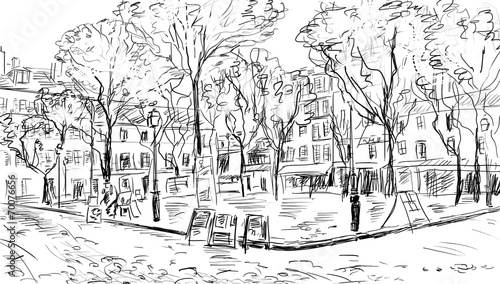 Street in paris. Eiffel tower -sketch  illustration - 70076656