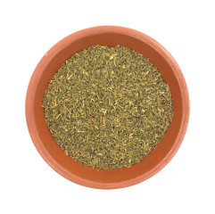 Top view of a bowl of dill weed