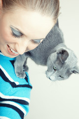 Lady and cat