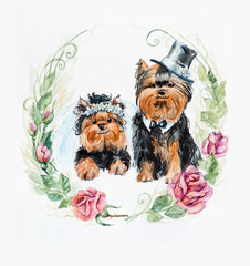 Yorkshire terrier. Dog`s wedding. Roses circle frame.