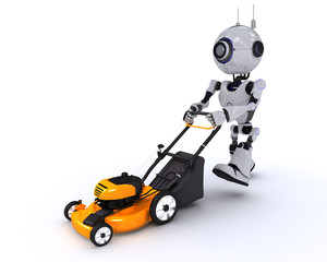 Robot with lawn mower