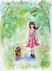 Girl and dog. Yorkshire terrier.