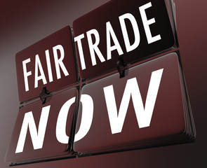 Fair Trade Now Words Retro Clock Tiles Equitable Pay Living Wage