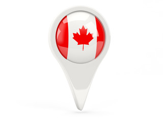 Round flag icon of canada