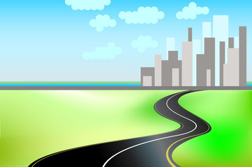road and the city with textspace