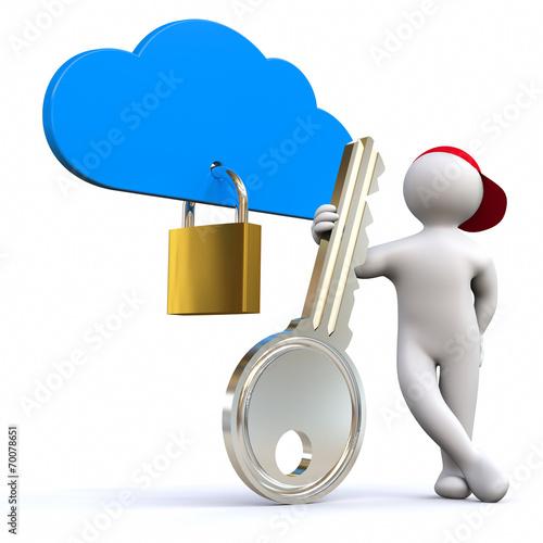 canvas print picture 3D Man cloud guard