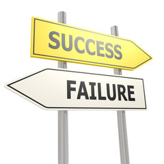 Success failure road sign