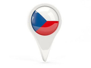 Round flag icon of czech republic