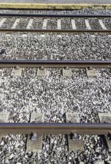 Railroad tracks at a station