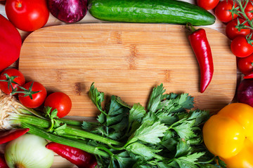 frame of vegetables