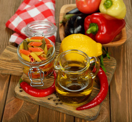 Olive oil in a glass jar