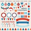 Retro Christmas Set Red/Blue/Orange/Beige