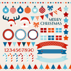 Retro Christmas Set Red/Blue/Orange/Beige