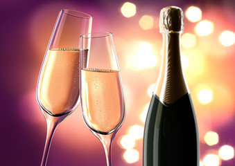 Champagnergläser mit Lichterglanz