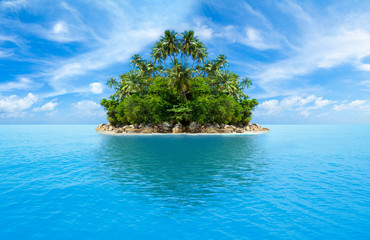 tropical island in ocean
