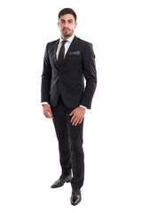Elegant business man standing isolated on white background.