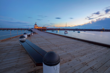 St. Kilda Pier at Dusk with boats in the harbour