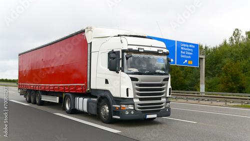 canvas print picture LKW auf Autobahn // Truck on highway