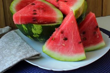 Ripe watermelon, cut into pieces.