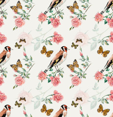 Goldfinches seamless. Pattern from roses. Water