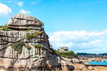 Pink granite cliffs in Saint-Guirec (France)