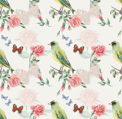 Greenfinch seamless. Pattern from roses.