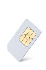 mobile phone sim card isolated on white