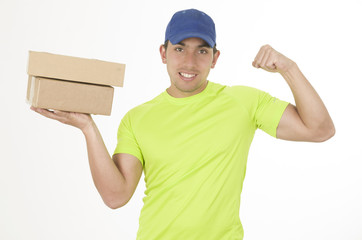 handsome friendly brunette delivery man carrying boxes