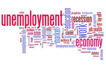Unemployment issues - word cloud concepts