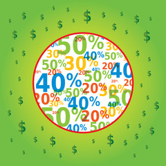 Image Soldes avec Icones Dollars Fond Vert