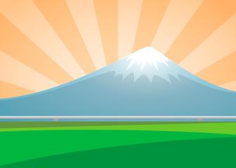 Fuji volcano landscape on the background sunburst day. vector il